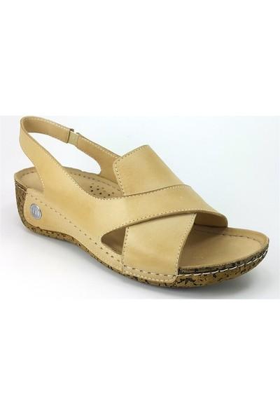Mammamia 1025 Günlük Kadın Sandalet Bej