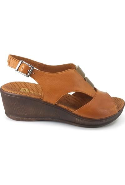 Mammamia 1455 Günlük Kadın Sandalet Taba