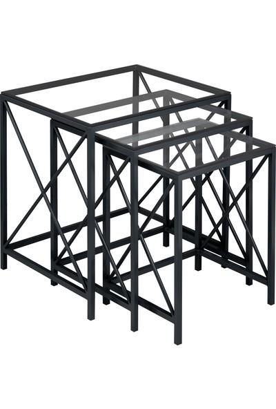 Ku Cam Diamond X Black Serisi Şeffaf Cam Zigon Orta Yan 3'lü Sehpa
