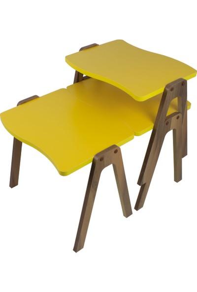 Pratico Mobilya Sarı Ceviz Ayak Zigon Sehpa