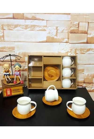 Shaddy Goods Bambu Tabaklı 6'lı Lüx Kahve Fincan Takımı