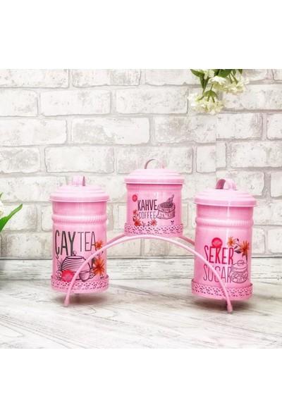 Shaddy Goods Dekoratif Çay Şeker Kahve Saklama Kabı Pembe