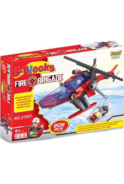 Furkan Toys F Blocks İtfaiye Helikopteri Blok Seti 208 Parça