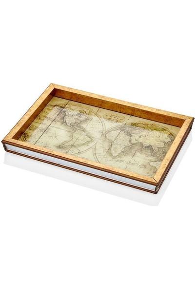 Cemile Tepsi Dikdörtgen Dünya Haritasi Desenli 30 x 43 cm