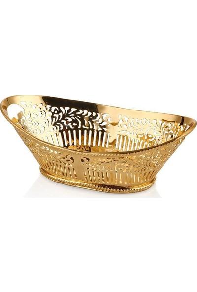 Cemile Altın Küçük Ekmek Sepeti 22 x 12 x 8 cm