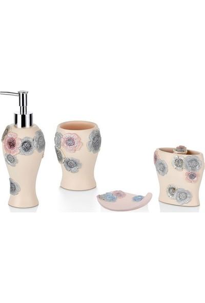 Cemile Çiçek İslemelı 4 Lu Banyo Seti