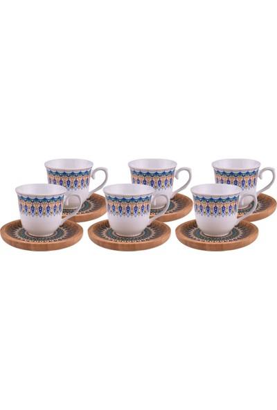 Bambum Kallavi 6 Kişilik Desen Altlıklı Kahve Takımı