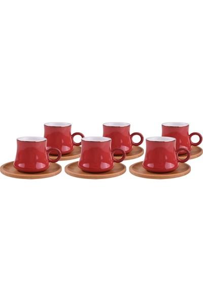 Bambum Harem 6 Kişilik Kahve Fincan Takımı Saray Kırmızı