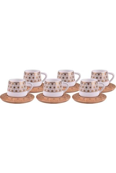 Bambum Nakkaş 6 Kişilik Desen Altlıklı Kahve Takımı
