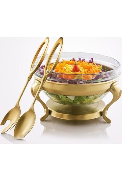 Lux Home Salata Servisi Kasesi Cam Çelik 2 Sunum Kaşıklı