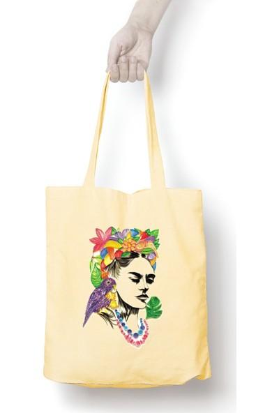 Anadolu Promosyon Frida Kahlo Desenli Ham Bez Omuz Çantası