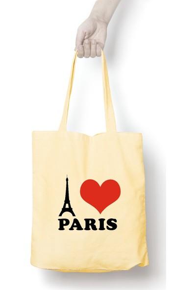 Anadolu Promosyon I love Paris Desenli Ham Bez Omuz Çantası