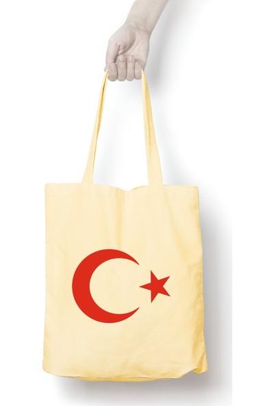 Anadolu Promosyon Bayrak Desenli Ham Bez Omuz Çantası