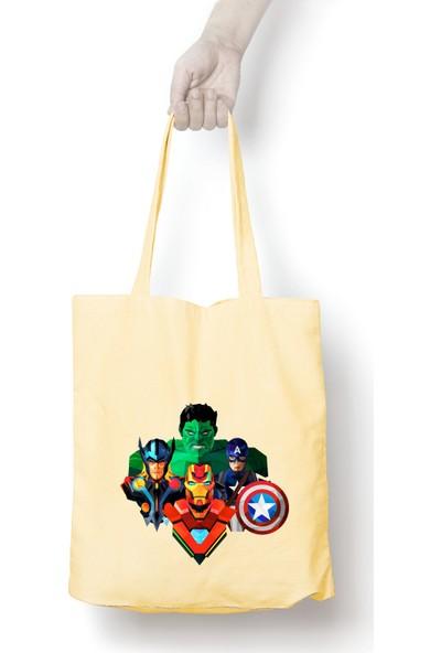 Anadolu Promosyon Avengers Desenli Ham Bez Omuz Çantası
