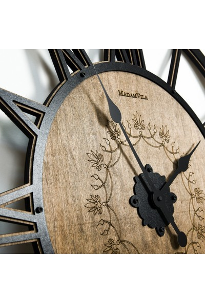 Madamvila Dirty Wood Büyük Boy Dekoratif Ahşap Duvar Saati 74 cm