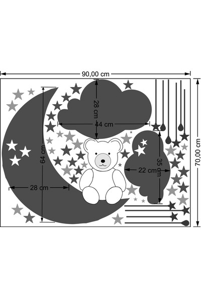Bugico Design'dan Çocuk Odası İçin Ay Bulut Ayı Yıldızlar Duvar Sticker