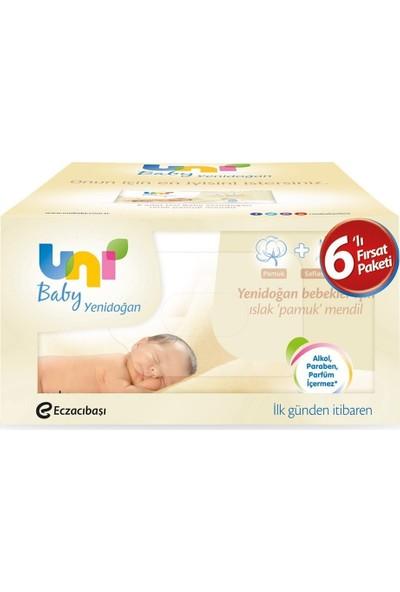 Uni Baby Yenidoğan Islak Pamuk Mendil 6'lı Fırsat Paketi / 240 Yaprak