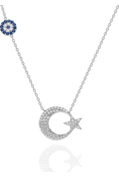 Chewel Nazarlı Ay Yıldız Kolye