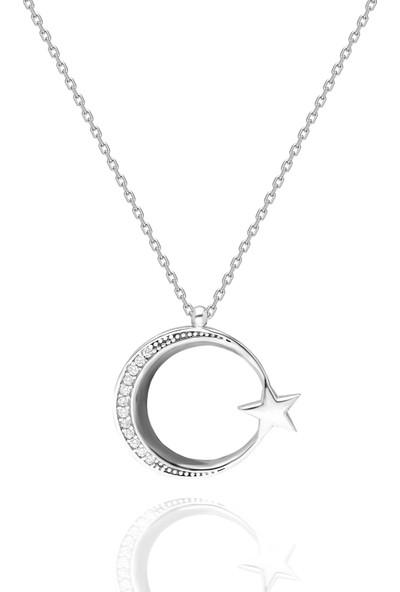 Chewel Ay Yıldız Gümüş Kolye