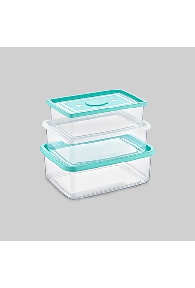 Poly Time Trıo Box 3'Lü Saklama Kabı Dikdörtgen