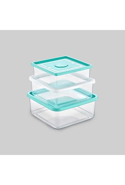 Poly Time Trıo Box 3'Lü Saklama Kabı Kare