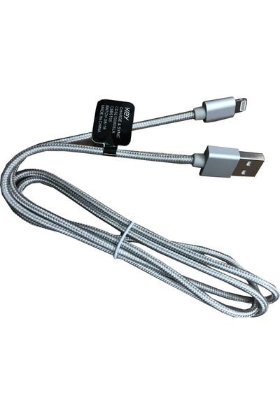 Key Lightning MFI Lisanslı Hasır Şarj Kablo 1 m