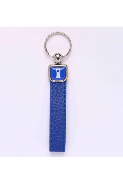 Yeni Hayat Shoping Yeni129 Deri Saplı Harf Anahtarlık Mavi
