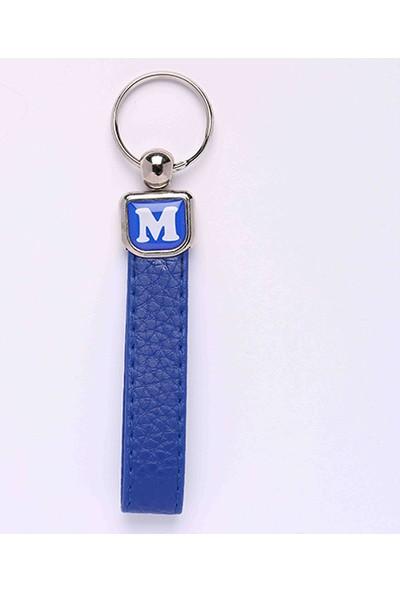 Yeni Hayat Shoping Yeni142 Deri Saplı Harf Anahtarlık Mavi