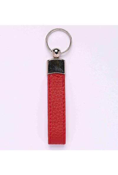 Yeni Hayat Shoping Deri Saplı Krom Harf Anahtarlık Kırmızı