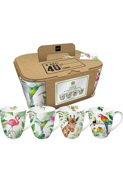 PaperProducts Design GMBH Tropical 4'lü Porselen Kupa Seti