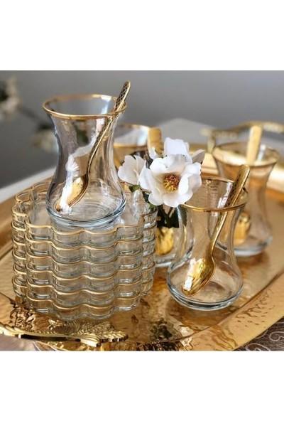 Paşabahçe Melis Altın Yaldızlı 12 Parça Çay Seti
