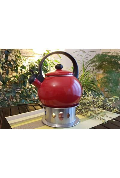 Evim Tatlı Evim Düdüklü Emaye Kırmızı Çaydanlık Kettle Bella Kırmızı 2,2 lt