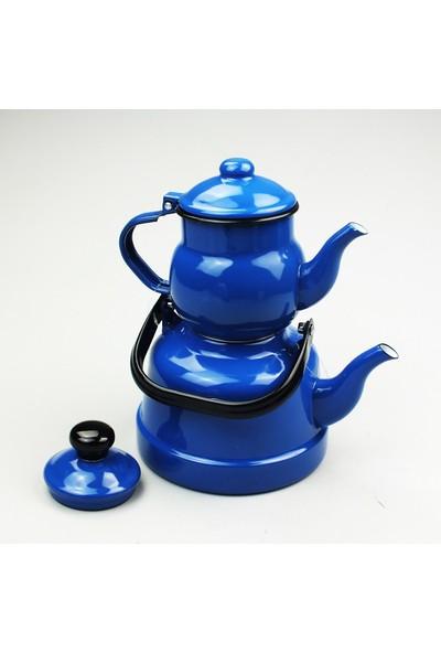 Evim Tatlı Evim Nostaljik Mavi Emaye Çaydanlık Takımı 2,5 + 1,1 lt