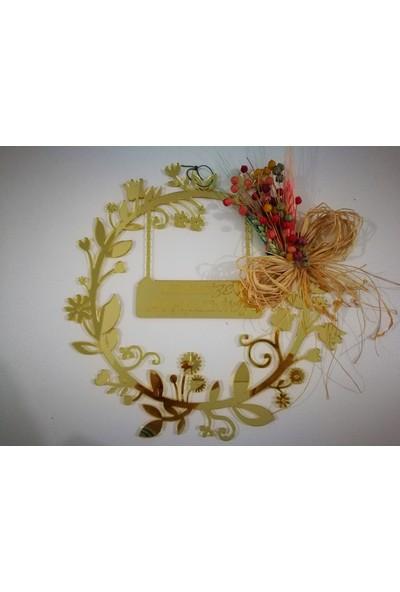 Elizi Evimize Hoşgeldiniz Dal Çiçekli Kesim Kapı Süsü