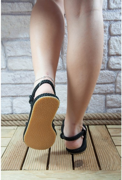 Noa Shoes Halat Sandalet Siyah Klasik Model Örgü Terlik Rahat