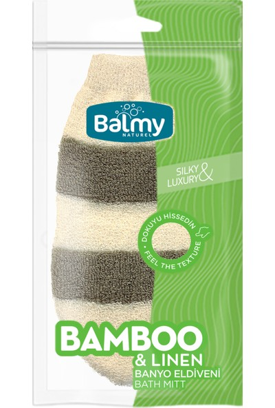 Balmy Naturel Bambu-Keten Banyo Eldiveni
