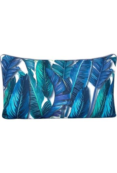 Altıncı Cadde Tropik Yastik - Banana Palm Mavi 40 x 20 cm