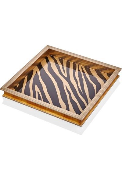 Cemile Tepsi Kare Zebra Desen 42 x 42 cm