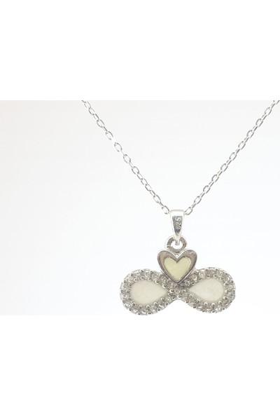 Hediyebalonu C0024 Karanlıkta Parlayan 925 Ayar Gümüş Neon Taşlı Kalp Kolye