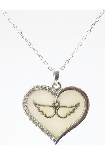 Hediyebalonu Karanlıkta Parlayan 925 Ayar Gümüş Neon Kanatlı Kalp Kolye