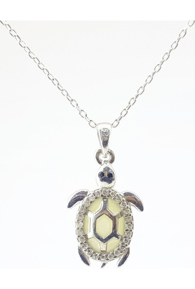 Hediyebalonu Karanlıkta Parlayan 925 Ayar Gümüş Neon Kaplumbağa Kolye