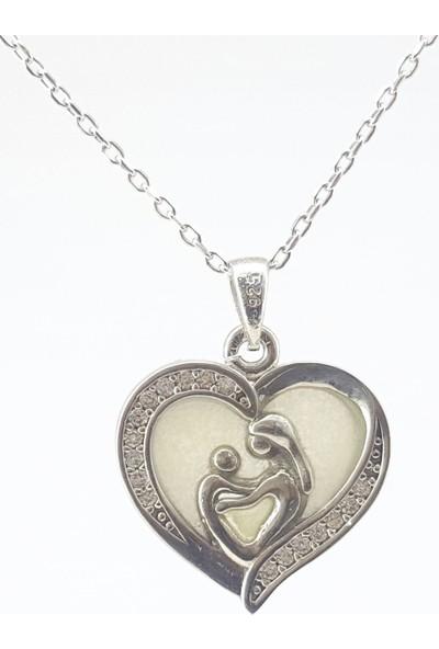 Hediyebalonu Karanlıkta Parlayan 925 Ayar Gümüş Anne Bebek Neon Kolye
