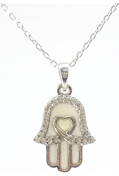 Hediyebalonu Karanlıkta Parlayan 925 Ayar Gümüş Neon Kalpli Fatmanın Eli Kolye