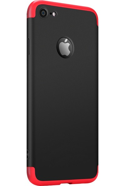 Caseup Apple iPhone 6S Kılıf Triple Deluxe Shield Siyah Kırmızı + Nano Cam