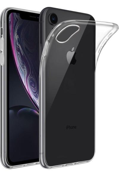 Caseup Apple iPhone XR Kılıf İnce Şeffaf Silikon Beyaz + Nano Cam
