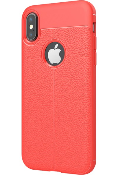 Caseup Apple iPhone XS Kılıf Niss Silikon Kırmızı + Nano Cam