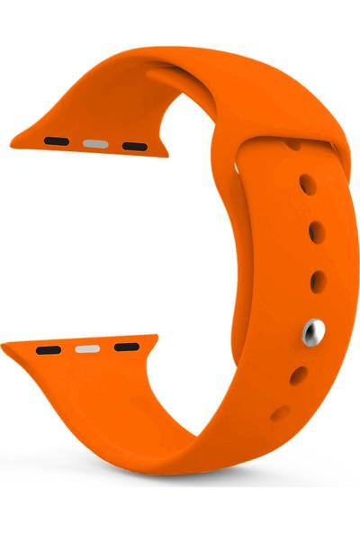 Caseup Apple Watch 1 38 mm Silikon Spor Kordon Turuncu + Nano Cam
