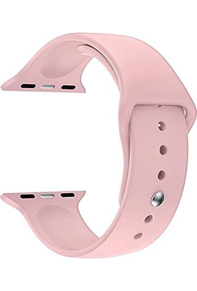 Caseup Apple Watch 3 38 mm Silikon Spor Kordon Pembe + Nano Cam
