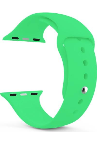 Caseup Apple Watch 3 38 mm Silikon Spor Kordon Yeşil + Nano Cam
