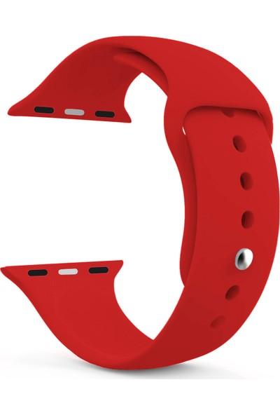 Caseup Apple Watch 3 42 mm Silikon Spor Kordon Kırmızı + Nano Cam